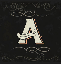 Retro style western letter design letter a vector