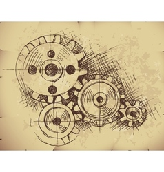 Gears on old paper vector