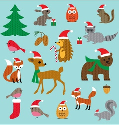 Christmas woodland animals vector