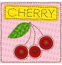 Funny patchwork with sweet cherry vector