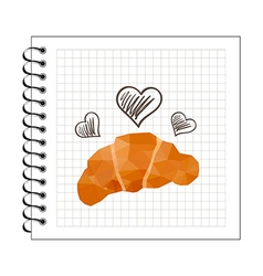 Origami baked croissant on notepad paper vector