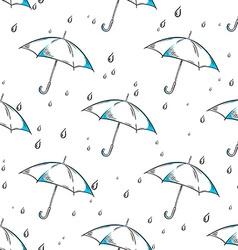 hand drawn umbrella and rain drops pattern vector image