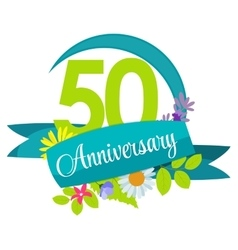Cute nature flower template 50 years anniversary vector