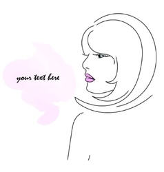 Girl in profile with pink lips vector