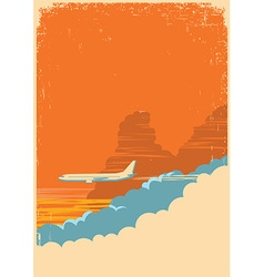 Aircraft flying in sky on old paper texture vector