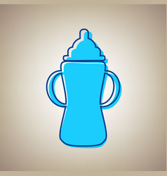 baby bottle sign sky blue icon with vector image vector image