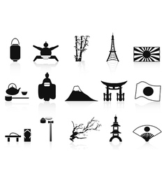 black japanese icons set vector image vector image
