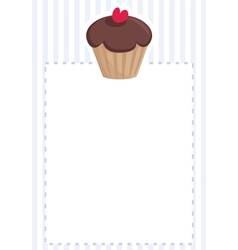 Blue card or invitation with chocolate cupcake vector