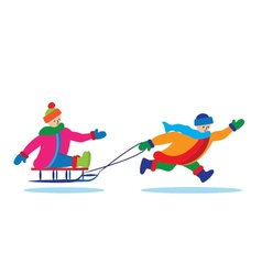 Children with sled vector image vector image
