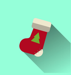 christmas sock icon with long shadow vector image
