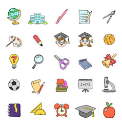 Color doodle school icons set vector