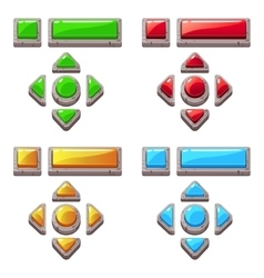 Colored stone buttons for game or web design vector