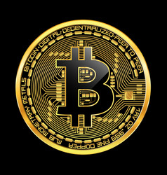 Crypto currency bitcoin golden symbol vector