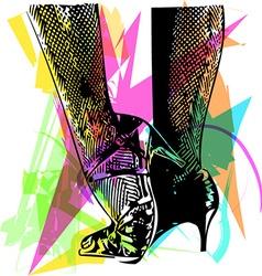 Female ballroom shoes latin and salsa dancer feet vector