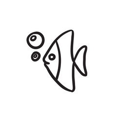 Fish under water sketch icon vector