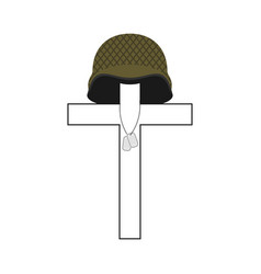 Grave of soldier cross and military helmet vector