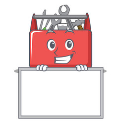 Grinning with board tool box character cartoon vector