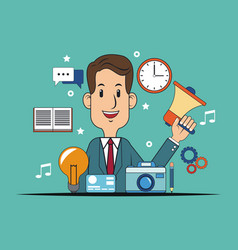 Man business work digital marketing vector