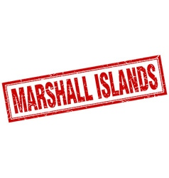Marshall islands red square grunge stamp on white vector