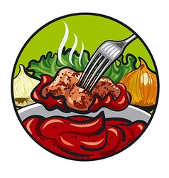 meat and sauce vector image