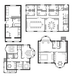 Modern office architectural plan interior vector
