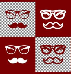 Mustache and glasses sign bordo and white vector