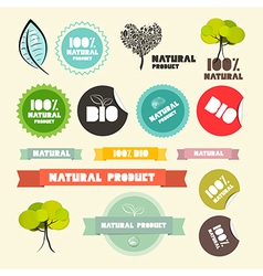 Natural Product Flat Design Retro Labels - Tags - vector image