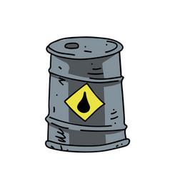 oil barrel cartoon hand drawn image vector image