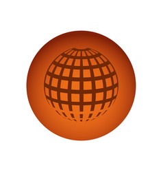 Orange circular frame sphere grid world vector
