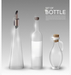 realistic empty glass bottles collection vector image