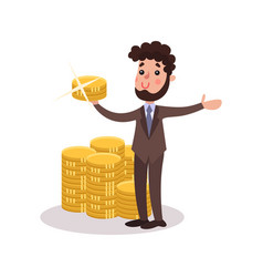 rich wealthy millionaire character standing next vector image