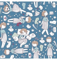 Seamless pattern with cute girl princess vector
