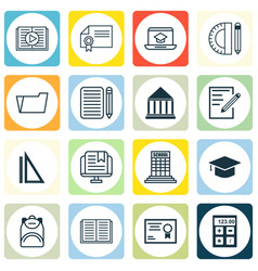 Set of 16 education icons includes home work vector