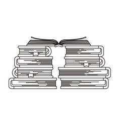 Sketch silhouette stack of books with open book in vector