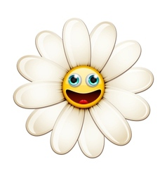 Smiling flower happy daisy vector image vector image