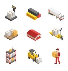 Stock logistics isometric icon set vector