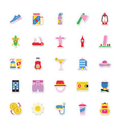 Summer and holidays icons 15 vector