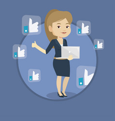 woman with like social network buttons vector image