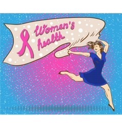Womans health concept poster in comic pop art vector