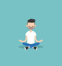 Young caucasian man meditating with closed eyes vector