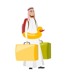 Young muslim traveler man in inflatable ring vector