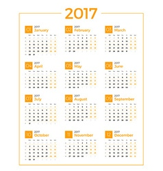 Calendar for 2017 year on white background design vector image