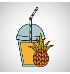 Delicious juice fruit pineapple and cup cover vector