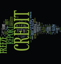 Freeze your credit text background word cloud vector