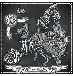 Europe map on vintage handwriting blackboard vector