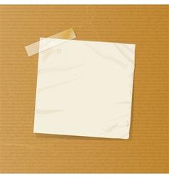 crumpled note on brownpaper vector image