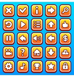 Yellow game icons buttons vector