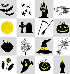 Halloween black and yellow icons set vector