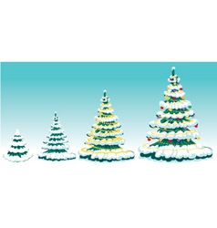 set of fur-tree with ornaments vector image