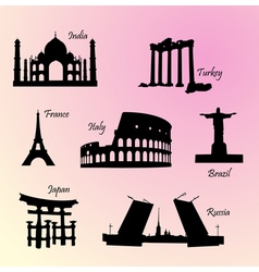 landmarks countries of the world vector image